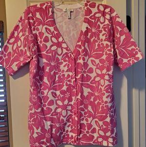 Denim & Co pink floral cotton cardigan